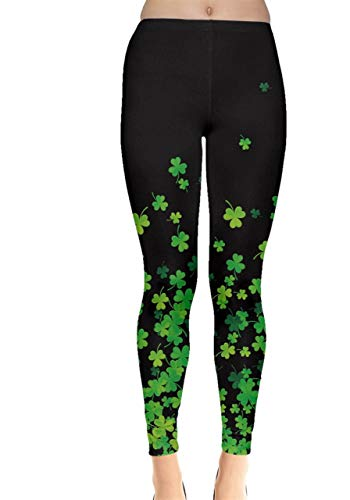 CowCow Womens Shamrock Flow Dark Leggings, Dark - XL -