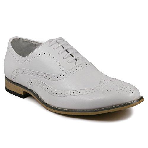 Uv Signature Uv002 Heren Vleugel Tip Geperforeerde Veter Oxford Dress Schoenen Wit