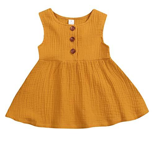 GSHOOTS Baby Girls' Sleeveless Dress Toddler Girls Linen Dress Infant Girl Solid Dress Newborn Girl Button Dress (90/12-18 Months, Ginger Beer) ()