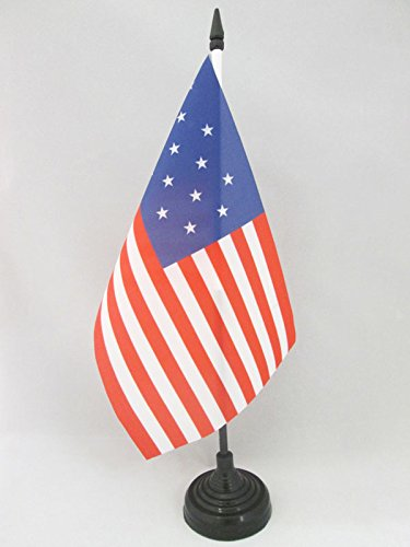 AZ FLAG Bandiera da Tavolo Stati Uniti 15 Stelle 21x14cm Piccola BANDIERINA Antica Americana USA 14 x 21 cm