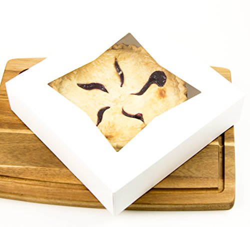 Durable Pie Box With Window, 10x10x2.5 Inches, Perfect for Pies and Low Profile Cakes, Set of 12 - By (Pia Down Pendant)