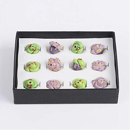 Calvas 12pcs/Box Jewelry DIY Beads Cake Handmade Bumpy Lampwork Beads, Mixed Color, 17x15mm, Hole: 2mm