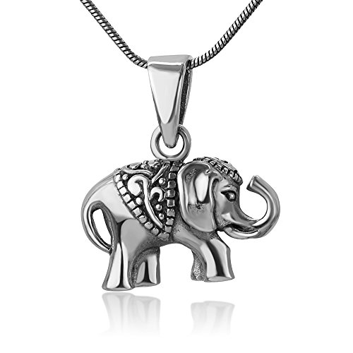 (Chuvora 925 Oxidized Sterling Silver Indian Asian Elephant Filigree Design Small Pendant Necklace, 18 inches)