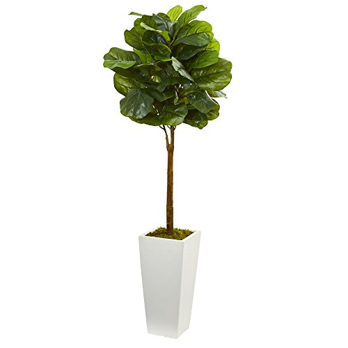 Nearly Natural Artificial 4' Fiddle Leaf Tree in White Tower Planter, ()