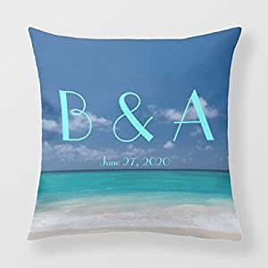 Throw Pillow Case Covers Nautical Wedding Personalized Personalized Monogram Pillow
