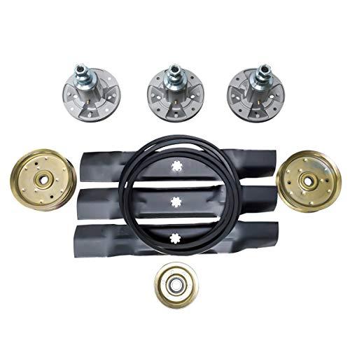 - Deck Blades, Spindle, Belt & Idler Pulley Replacement Kit Combo Set fits on 155C, LA130, LA140 Models