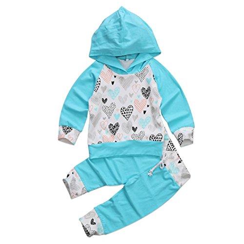 Juego de ropa de bebé, ppbuy niño Niña Corazón Impreso con capucha Tops + Pants 2pcs Disfraces Set: Amazon.es: Oficina y papelería