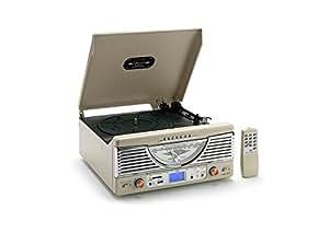 Classic Phono TT-32 - Tocadiscos (USB, mando a distancia, 3.5 mm), blanco