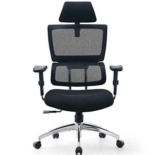 Ticova Ergonomic Office Chair with Adjustable Headrest, Armrest and Elastic Spring Lumbar Support – High Back Mesh Office Chair with Thick Seat Cushion – 140°Reclining & Rocking Computer Desk Chair