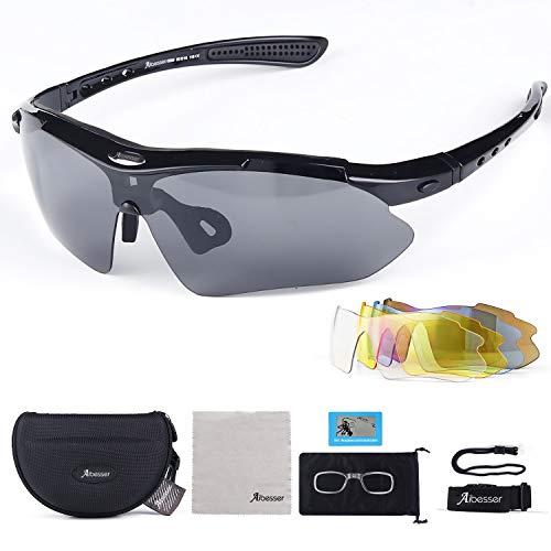 Adkwse Sportbril voor dames en heren, gepolariseerde UV400-bescherming met 5 verwisselbare glazen, voor outdoorsport…
