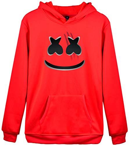 Manches Logo Hoodie Flychen Capuche Homme Sweats 3410 Marshmello Longues Rouge À Dj Impression wUwv0