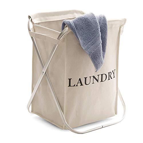 Seville Classics Single Aluminum X-Frame Folding Laundry Clothes Hamper, Natural Beige (Hamper Classic)
