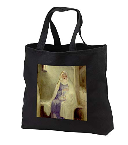 Noel Classic Tote - TDSwhite - Christmas Holidays Xmas - Vintage Christmas Virgin Mary Baby Jesus First Noel Manger Classic - Tote Bags - Black Tote Bag 14w x 14h x 3d (tb_300643_1)
