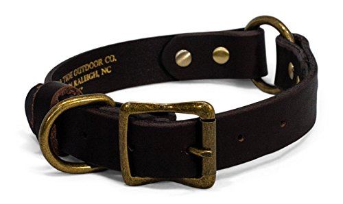 Timber and Tide Premium Heavy Duty Leather Dog Collar - Sturdy Brass Colored Buckle and Rivets - Safety O-Ring for Active Dogs Outdoor Co (16 Inch)