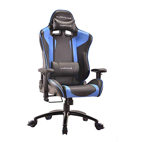 AwaReviver Gaming Video Computer Racing Chair – Ergonomic Design of Office Desk PU Leather Rocking Chairs with Lumbar and Back Support for Adults and Teens (Blue) AwaReviver