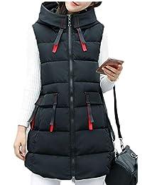 Gocgt Women's Hooded Zipper Thickened Warm Sleeveless Long Down Vest Jacket