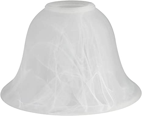 Lamp Shade Alabaster-Appearance bowl-shaped white w// gray veining standard size