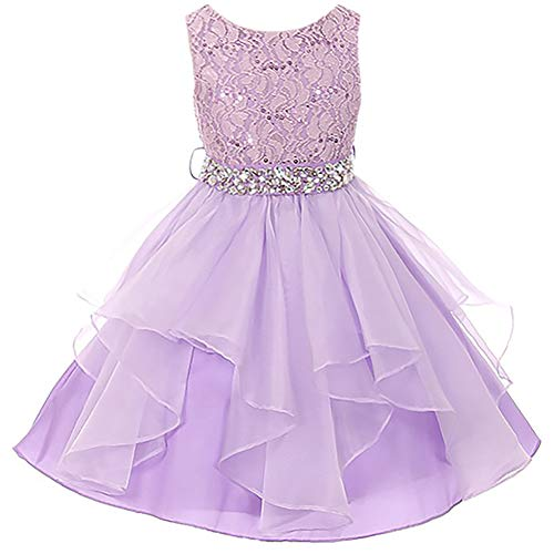 Little Girls Lace Bodice Asymmetric Ruffles Tulle Skirt Rhinestones Flower Girl Dress Lilac - Size 6