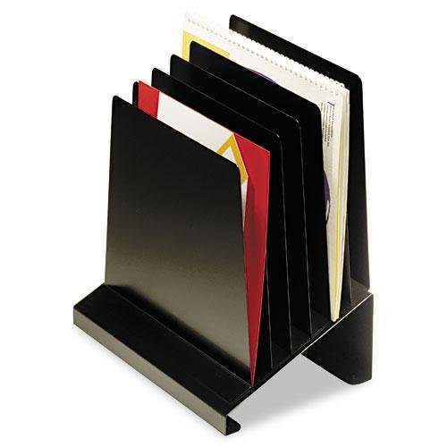 SteelMaster 264R806BK Slanted Vertical Organizer, Six Sections, Steel, 11 x 7 1/4 x 11 1/2, Black by STEELMASTER