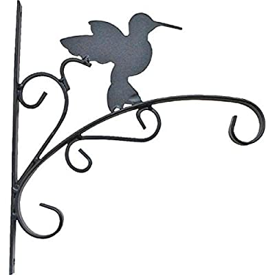 """Rocky Mountain Goods Hanging Planter Bracket with Install Kit 11"""" - Holds up to 20"""" Pot and 45 lbs - Rust Proof Wrought Iron - Includes install screws (Hummingbird): Garden & Outdoor"""