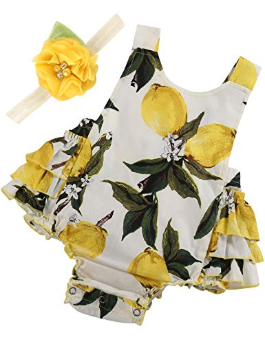 PrinceSasa Baby Girl Clothes Yellow Lemon Floral Ruffles Summer Cake Smash Dress...