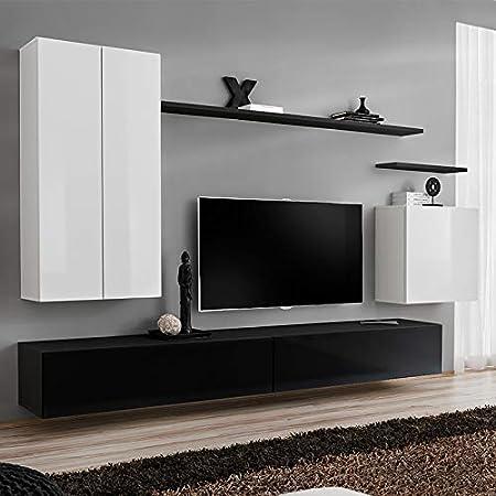 NOUVOMEUBLE IRSINA - Mueble para TV de Pared, Color Blanco y Negro: Amazon.es: Hogar