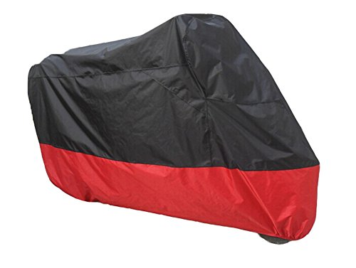 Motorcycle Motor Scooter Waterproof UV Dust Protector Rain Cover, 180T Oxford Fabric Outdoor Cover, Water Resistant Dustproof Ultra Violet Protective, by JFQ (XXL, Black+Red)