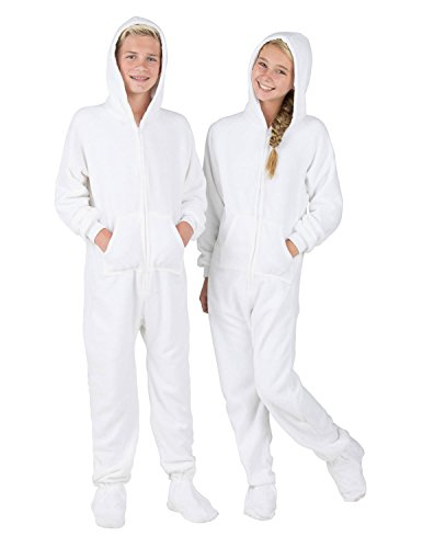 Footed Pajamas - Arctic White Kids Hoodie Fleece - Extra (White Boys Pajamas)