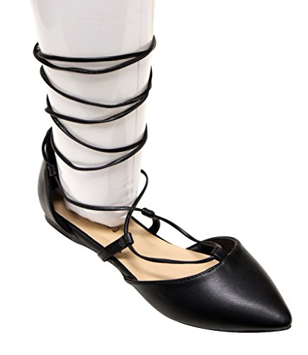 Breckelles Daisy-72 Femmes Dorsay Amande Poided Toe Gilly Cravate Cheville Wrap Appartements Pu Noir