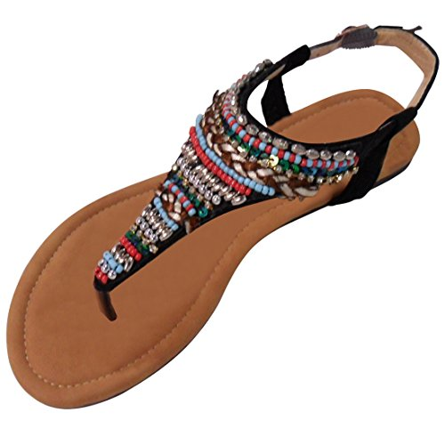 Clearance Sale Most Popular Roxy Black Flat Low Heel Open Toe Scalloped Strappy Embellished Buckle With Beads Top Cool Boho Designer Native American Thong Sandal For Women Teen Girl (Size - Popular Designer Most