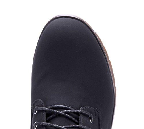 Schuhtempel24 Damen Schuhe Plateau Stiefel Stiefeletten Boots Blockabsatz 8 cm Schwarz