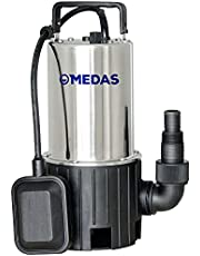 MEDAS 1HP 750W 2640GPH Electric Portable Stainless Steel Submersible Dirty Water Sump Pumps for Garden Pond Basement with Float Switch