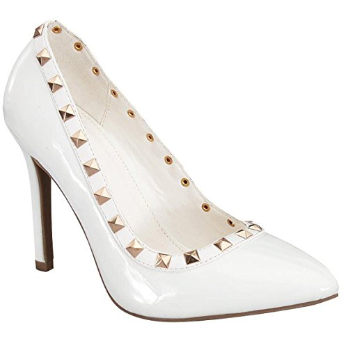 Fashion-shoes Womens Pyramid Studs Patent Pointed Toe Pumps White zJ3Vd