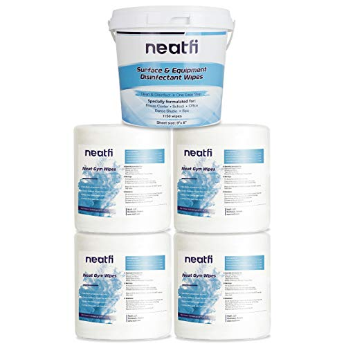 NeatFi Multi Purpose Surface Wipes (4 Rolls, 4,600 Wipes) - Reusable Wipe Bucket Dispenser Included, Gym Equipment Cleaning Wipes, Disinfecting Gym Wipes, Antibacterial Facility Wipes