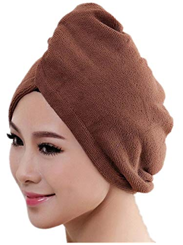 Quick Magic Hair Dry Hat,Quaanti Microfiber Bath Towel Hair Dry Hat Cap Quick Drying Lady Bath Tool (Coffee)