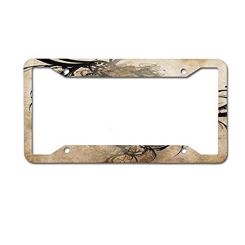 ASLGlicenseplateframeFG Revenge Fierce Faced Skull Triplets with Romantic Detail of Rose Image Personalized License Plate -Auto Car Tag 4 Holes - Metal Front of Car License Plate Frame(12X6)