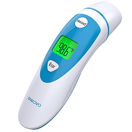 ANKOVO Medical Forehead and Ear Thermometer, Dual Mode Digital Baby Thermometer for Fever, Instant Accurate Reading for Infant, Kids and Adults