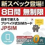 JPSIM 8日間LTE無制限使い切りプラン データ通信専用プリペイドSIMカード(TRAVEL SIM FOR JPAPN) SIMピン付 3-IN-1SIM(nano/micro/標準SIMマルチ対応)