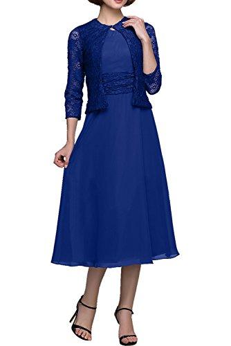 Chiffon Damen Bolero Hochzeit Elegant Abendkleid Rundkragen Linie Cocktail Partykleid Festkleider Royalblau Ivydressing Quinceanerakleider amp;Spitz A SHIgqIw