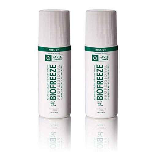 (Biofreeze Professional Roll-On Pain Relief Gel, 3 oz. Bottle, Green, Pack of 2 )