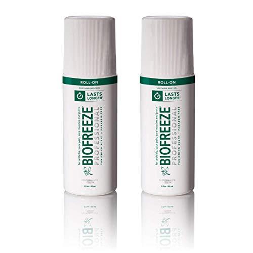 Biofreeze Professional Pain Relief Gel, 3 Ounce RollOn Applicator, Pack of 2, Original Green Formula, Pain Reliever, 5% Menthol