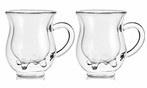 250ml Handcraft Borosilicate Glass Cup Creative Cute Tea Milk Cup Coffee Glass Cup,Set of 2