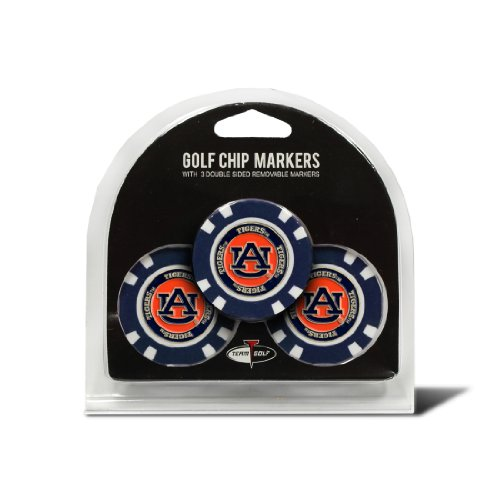 Team Golf NCAA Auburn University Tigers Golf Chip Ball Markers (3 Count), Poker Chip Size with Pop Out Smaller Double-Sided Enamel ()