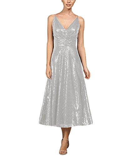Beauté Des Femmes De Mariée Robe De Demoiselle D'honneur À Sequins D'argent Banquet De Bal Maxi Col V