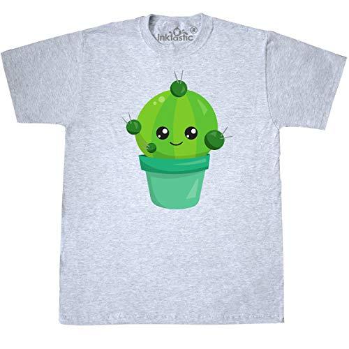 inktastic - Little Green Cactus in A Pot, Smiling T-Shirt Medium Ash Grey 35a49