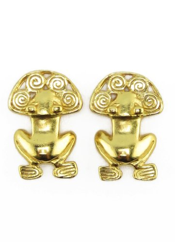 Across The Puddle, Historical Jewelry Collection, 24k Gold Plated Pre-Columbian Tairona Frog with Spirals Drop Earrings 24k Gold Plated Frog