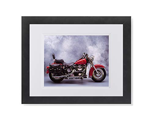 Red Harley Davidson Heritage Motorcycle Photo Wall Picture W/W Matted Framed Art Print