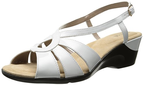 Soft Style by Hush Puppies Women's Paci Dress Sandal, White Patent Polyurethane, 6.5 W US