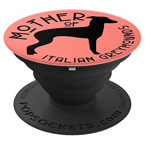 Italian Charms Lover Animal - Funny Italian Greyhound Dog Lover Mom on Coral Pink PS14099 - PopSockets Grip and Stand for Phones and Tablets