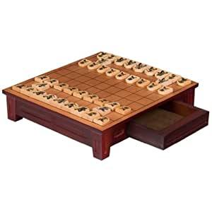 Wooden Shogi Japanese Chess Table w/ Drawers and Chessmen Game Set